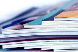 stack of the colorful magazines , extreamly DOF